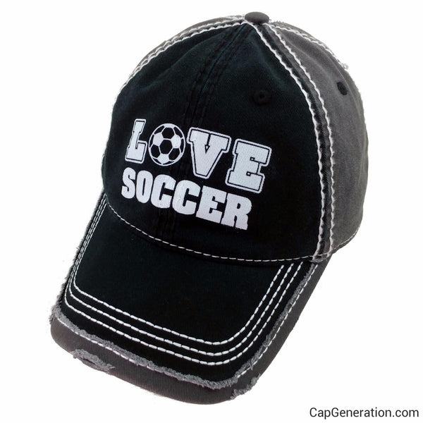 LOVE SOCCER Black and Gray Distressed Baseball Cap-Vintage-Cap Generation
