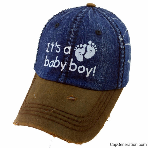 IT'S A BABY BOY Adult Pregnant Navy Blue Denim Distressed Baseball Cap-Vintage-Cap Generation