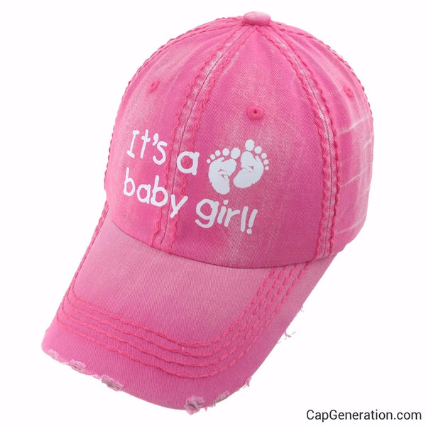 IT'S A BABY GIRL Adult Pregnant Pink Denim Distressed Baseball Cap-Vintage-Cap Generation