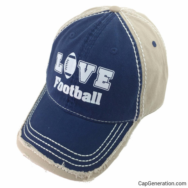 LOVE FOOTBALL Navy Blue and Khaki Distressed Baseball Cap-Vintage-Cap Generation
