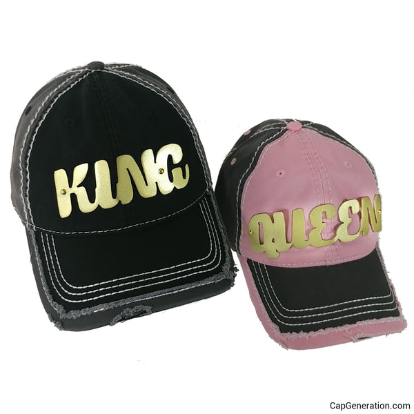 KING&QUEEN PAIR Gold (or Silver) Metal Plate White Thick Stitch Distressed Baseball Cap-Metal Heavy Stitch-Cap Generation