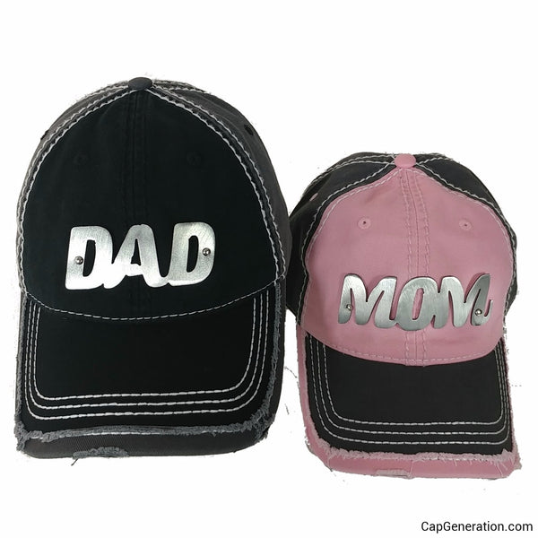 MOM&DAD PAIR Gold (or Silver) Metal Plate White Thick Stitch Distressed Baseball Cap-Metal Heavy Stitch-Cap Generation
