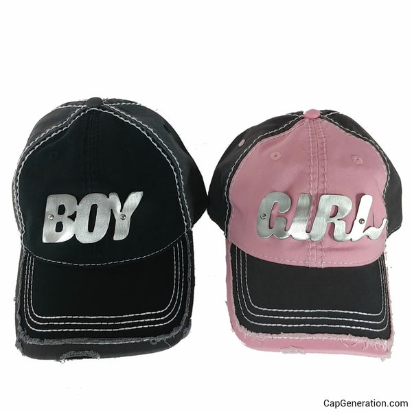 BOY&GIRL PAIR Gold (or Silver) Metal Plate White Thick Stitch Distressed Baseball Cap-Metal Heavy Stitch-Cap Generation