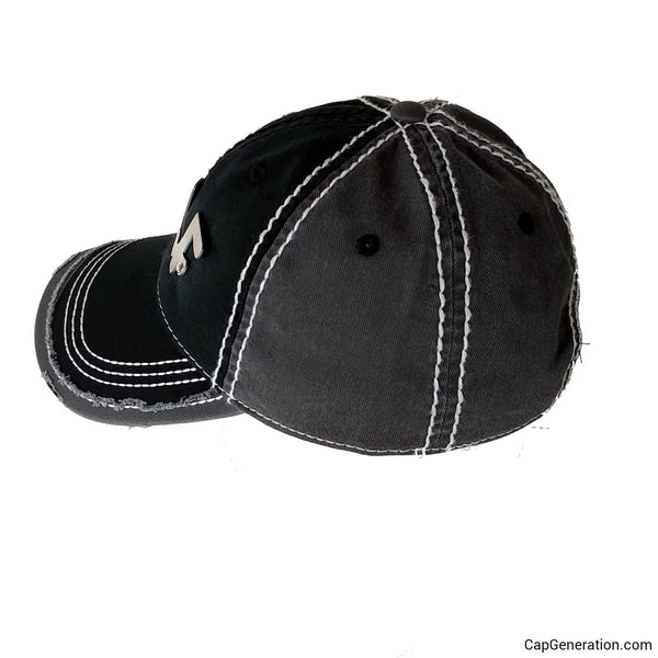 GOLF Gold (or Silver) Metal Plate Black and White Thick Stitch Distressed Baseball Cap-Metal Heavy Stitch-Cap Generation