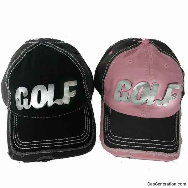 GOLF PAIR Gold (or Silver) Metal Plate White Thick Stitch Distressed Baseball Cap-Metal Heavy Stitch-Cap Generation