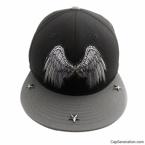 SILVER WINGS Black and Metal Stars SnapBack Baseball Cap-Snapback-Cap Generation
