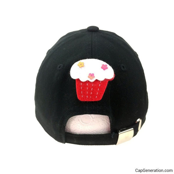 Kids CUPCAKE PARTY Black Baseball Cap-Kids-Cap Generation