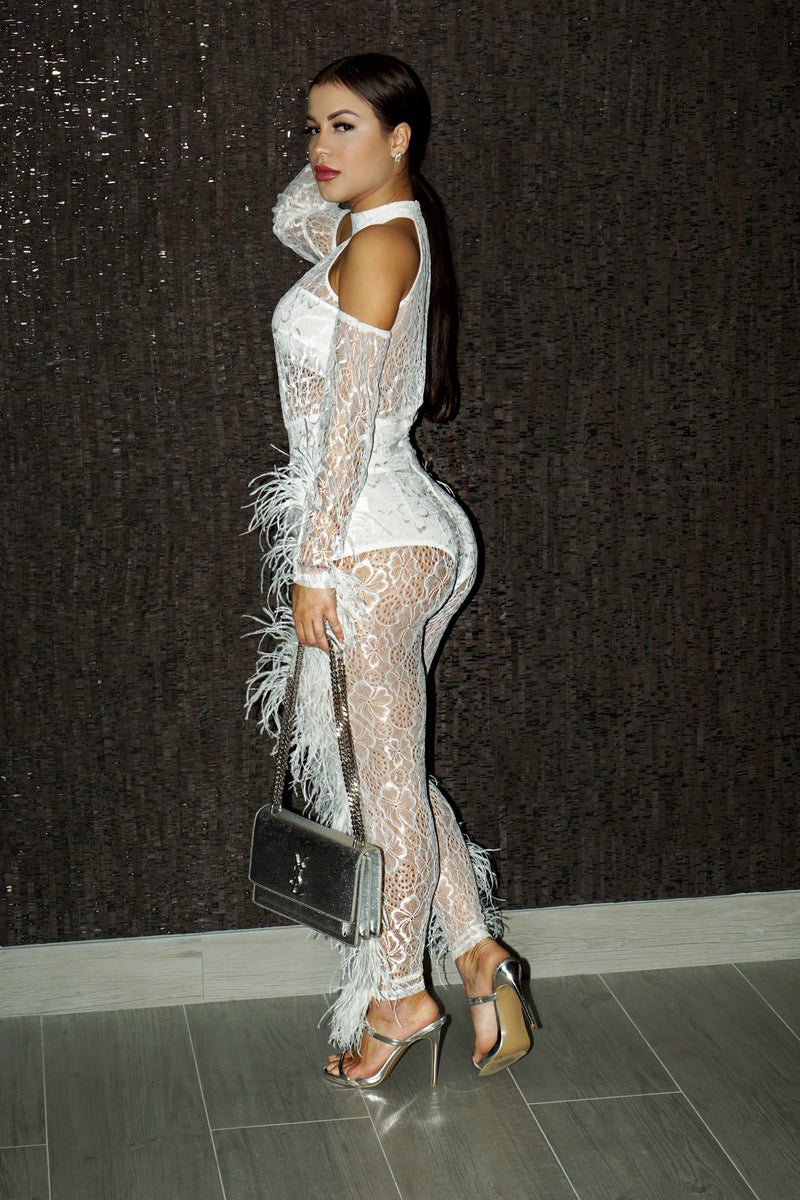 Angie white see through jumpsuit