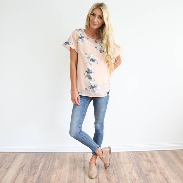 Shawna Flower Top in Blush