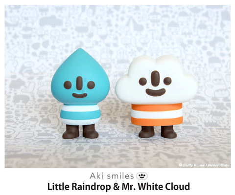 Aki smiles Mr. White Cloud and Little  - Fluffy House