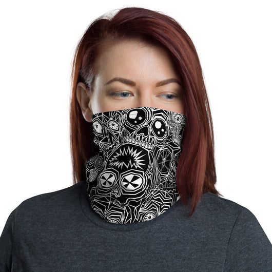 Woman wearing a neck gaiter featuring our original