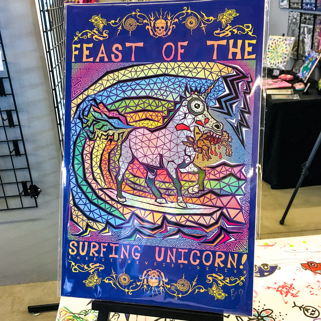 Feast of the Surfing Unicorn (Open Edition Poster Print)