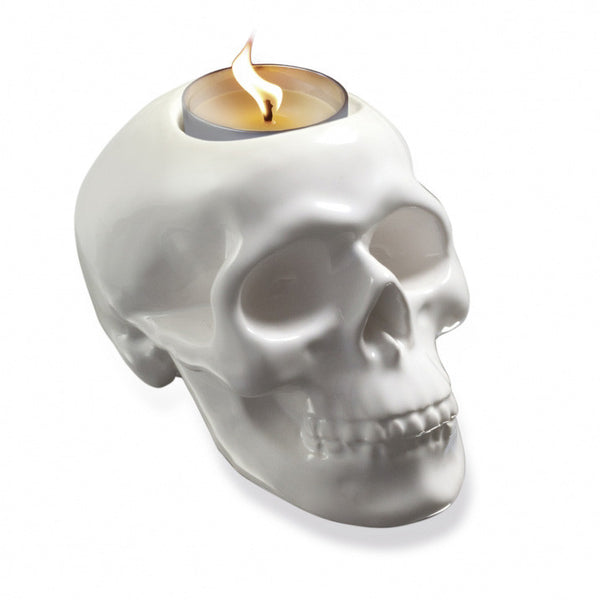 Ceramic Skull Tea Light Holder