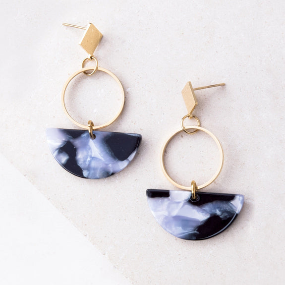 Ivy Gray Resin and Gold Dangle Earrings - Starfish Project