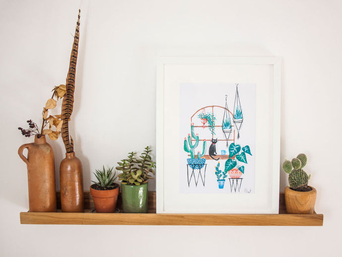 Cat and Plants in Window A4 Print