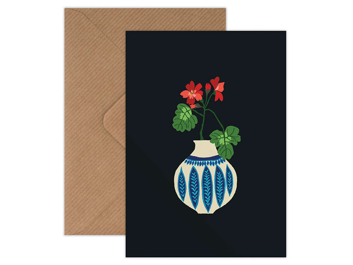 Geranium Vase Greetings Card