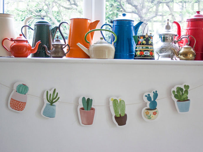 Cactus bunting in four designs