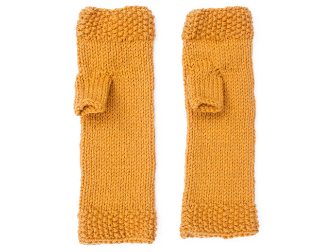 Fingerless Gloves in Mustard Yellow