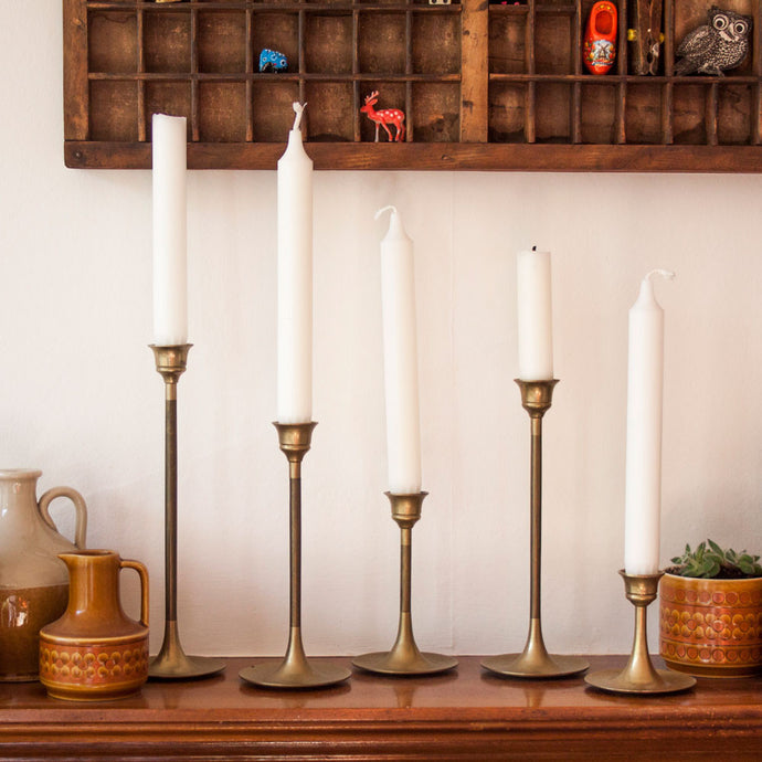 Brass Candlestick Holders Set of 5