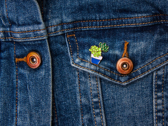 Succulent Pot Enamel Pin Badge