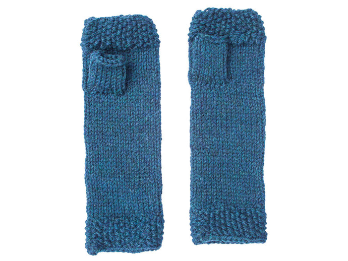 Fingerless Gloves in Petrol Blue