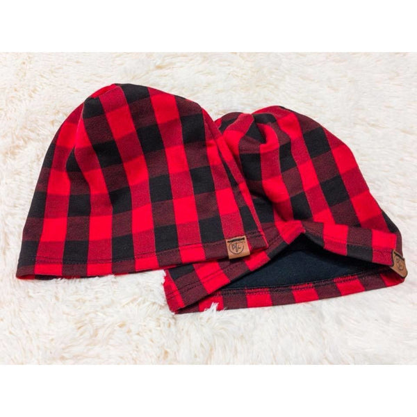 Buffalo Plaid Lined Slouchy Beanies flat lay