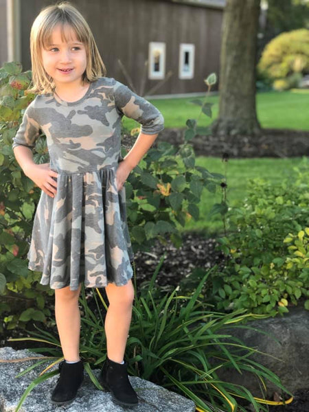 Camo Twirl Dress -- girls handmade dresses