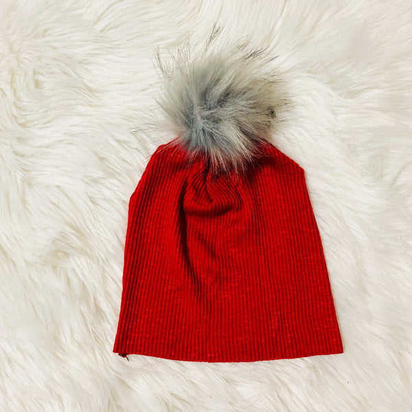 kids-red-hat-beanie-fur-puff-pom-pom-pure-threads-co