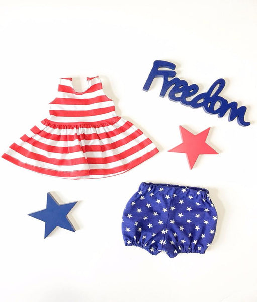 Girls and little girls Red and white Peplum top shirt with Star Spangled Bubble Short. Makes a great set!