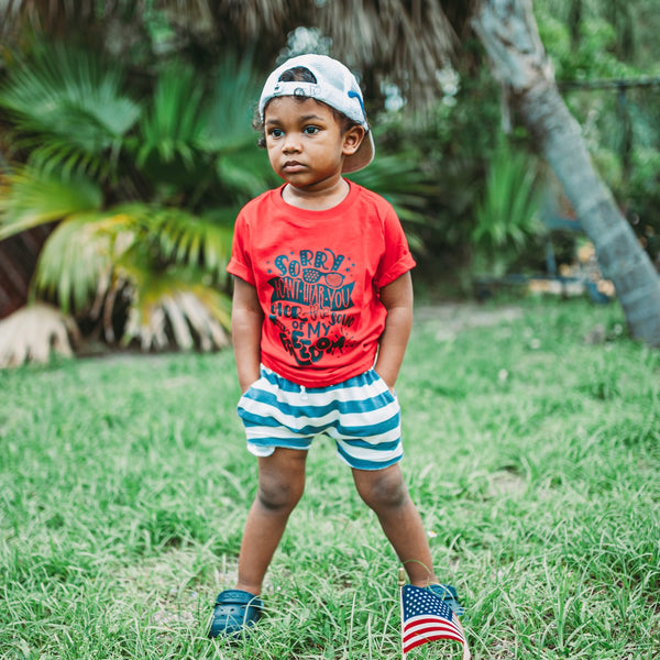 Nautical Shorts for Kids | Navy Blue & White Stripe
