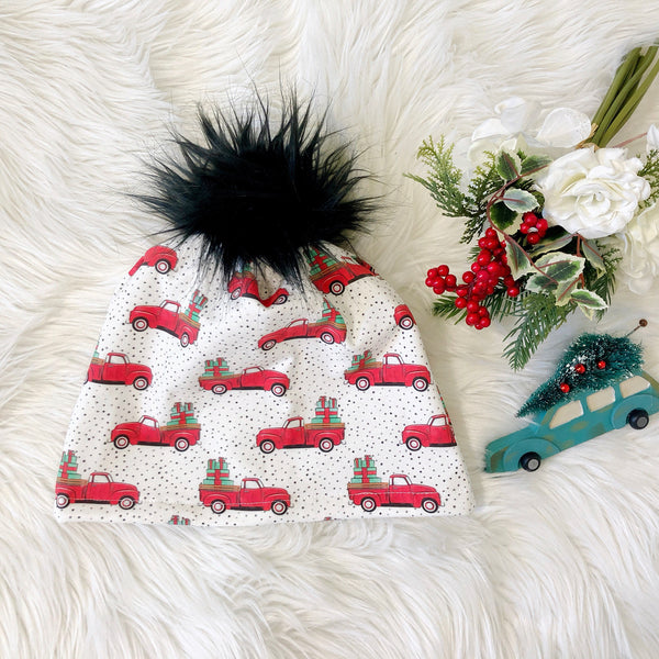 Vintage Christmas Truck Beanie