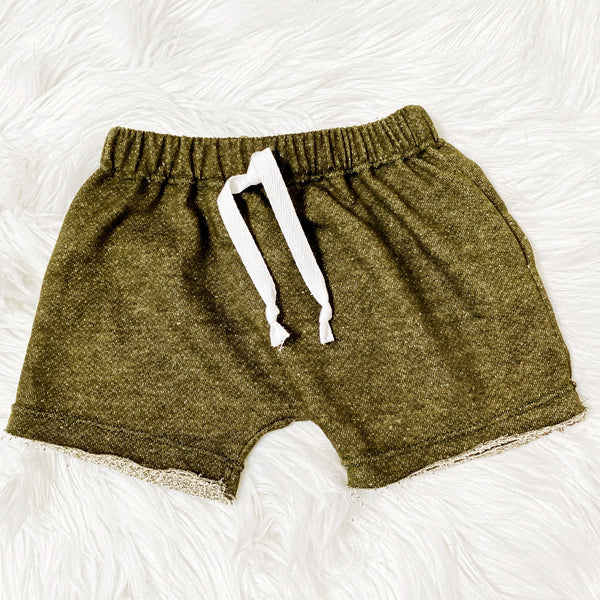unisex olive green drawstring shorts for kids
