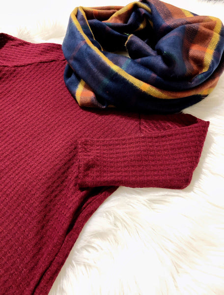 Wine Waffle Knit Top