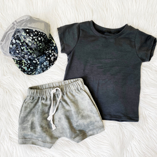 monochrome flat lay boys cool summer outfit boutique for children gray drawstring shorts for boys handmade clothes pure threads co