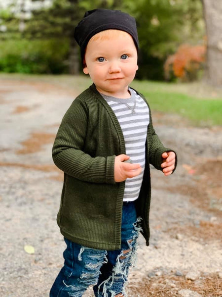 Ribbed Open-Front Kids Cardigan - Olive