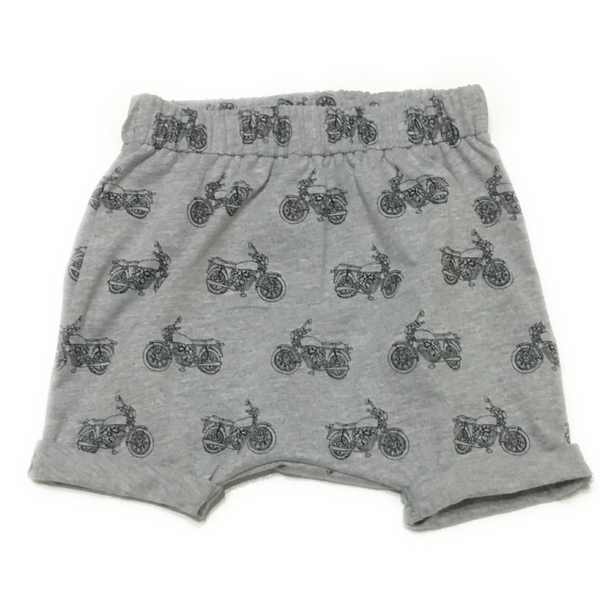 Grey Motorcycle Harem Shorts Flat Lay