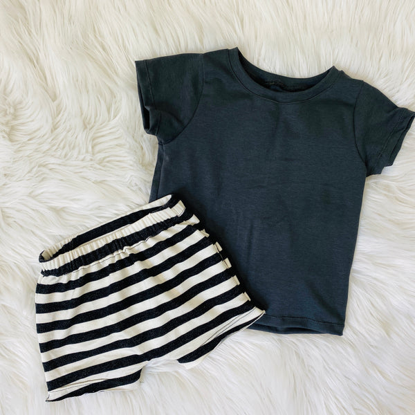 charcoal basic tee handmade bamboo shirts and monochrome stripe shorts for kids pure threads co