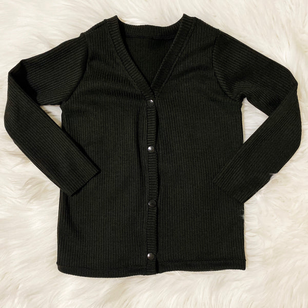 Ribbed Open-Front Kids Cardigan - Black