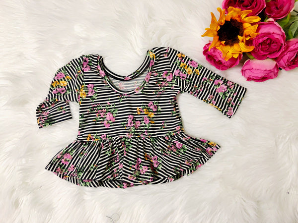 Striped Floral Peplum