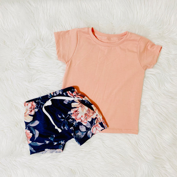 flat lay floral shorts unique girls tees handmade pink bamboo shirt for girls pure threads co
