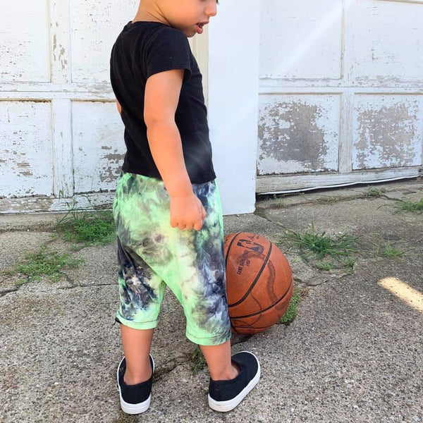 Neon Green Tie Dye Harem Shorts for Kids
