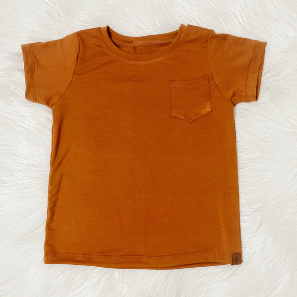 rust pocket tee neutral basic handmade kids clothes from pure threads co