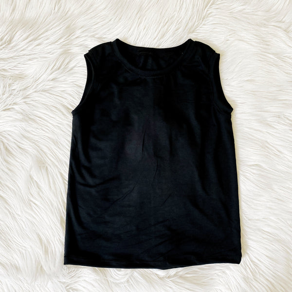 simple black bamboo tank for kids unisex basics pure threads co