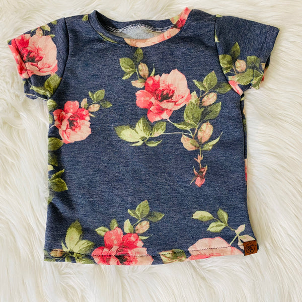 Floral Denim French Terry Basic Tee
