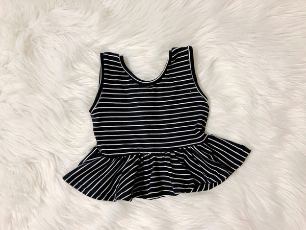 Monochrome Striped Peplum