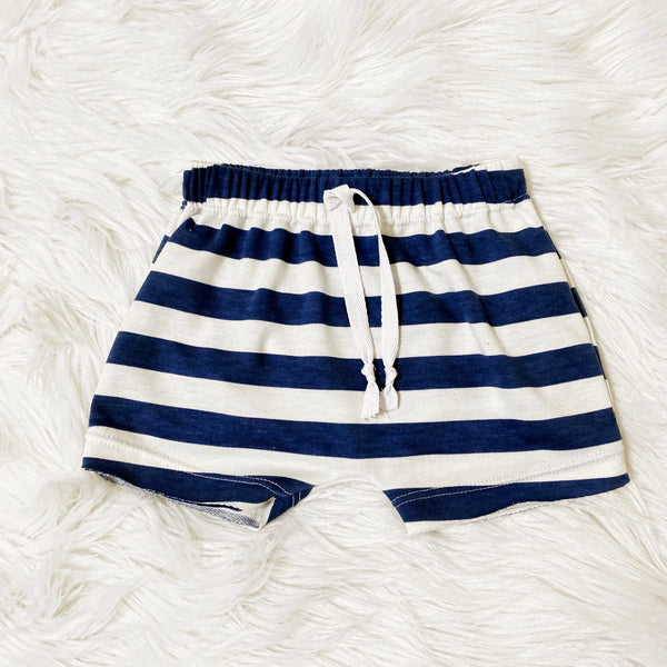 nautical navy white stripe drawstring cute shorts for boys girls handmade baby boutique pure threads co