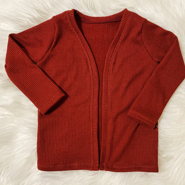 Ribbed Open-Front Kids Cardigan