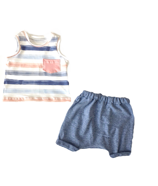 Watercolor Striped Pocket Tank for Kids
