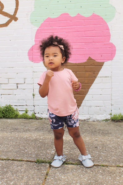 girls summer outfit pink shirt floral shorts pure threads co