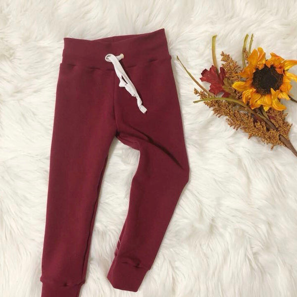 Burgundy French Terry Joggers